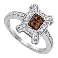 0.20CTW COGNAC DIAMOND MICRO-PAVE RING