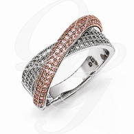 Sterling Silver Rose Gold-plated CZ Brilliant Embers Polished Ring