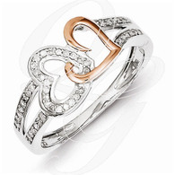 Sterling Silver & 14k Rose Gold Diamonds Two Heart Ring