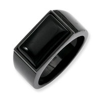 Stainless Steel Black Agate Ring