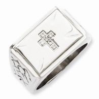 Stainless Steel Diamond Cross W/Textured Sides Ring