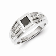 14k White Gold Black and White Diamond Men's Ring