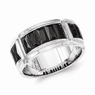 Sterling Silver Black CZ Grooved Ring
