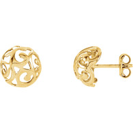 14kt Yellow 11mm Swirl Stud Earrings