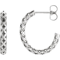 14kt White 19.5x2.7mm Pierced-Style J-Hoop Earrings