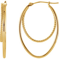 14kt Yellow Oval Hoop Earrings