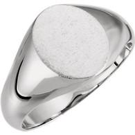 14kt White 10x8mm Oval Signet Ring