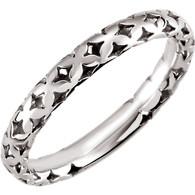14kt White 3mm Pierced-Styled Ring