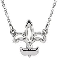 """14kt White Fleur-De-Lis 16"""" Necklace"""