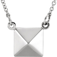 "14kt White Pyramid 16"" Necklace"