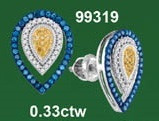 0.33CTW 10K MIX COLOR MICRO-PAVE EARRINGS