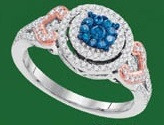 0.50CTW  10K BLUE DIAMOND MICRO-PAVE RING
