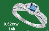0.52CTW 14K DIAMOND AND SAPPHIRE FASHION RING