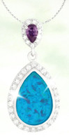 Blue Opal, Amethyst, and CZ Pendant