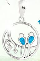 Blue Opal Love Birds Pendant