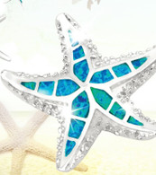 Blue Opal and CZ Starfish Pendant