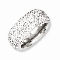 Stainless Steel Crystal 9mm Eternity Ring