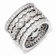 Sterling Silver CZ Eternity Five Ring Set