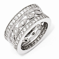 Sterling Silver CZ Eternity Three Ring Set