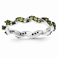 Sterling Silver Peridot Black Rhodium Eternity Ring