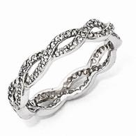 Sterling Silver CZ Twist Eternity Ring