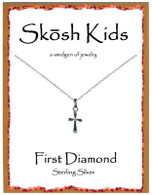Shosh Children's Plain Cross with Diamond Necklace