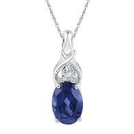 0.004CTW DIAMOND 0.90CTW LAB CREATED BLUE SAPPHIRE PENDANT