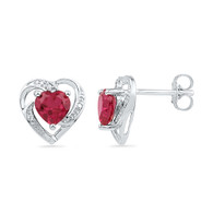0.01CTW DIAMOND 2.20CTW LAB CREATED RUBY EARRING