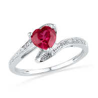 0.01CTW DIAMOND 1.10CTW LAB CREATED RUBY RING