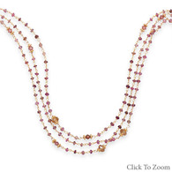 """16"""" 14 Karat Gold Plated Triple Strand Necklace with Pink Tourmaline"""