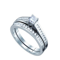 0.50CT DIAMOND PRINCESS CENTER BRIDAL SET