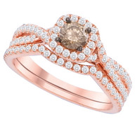 1.00CTW COGNAC DIAMOND FASHION BRIDAL SET