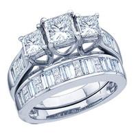 2.00CTW DIAMOND 0.60CT CENTER PRINCESS LADIES BRIDAL SET