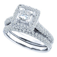 1.25CTW DIAMOND 0.40CT CENTER PRINCESS BRIDAL SET