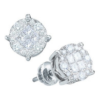 0.50CTW PRINCESS ROUND DIAMOND LADIES SOLIEL EARRINGS