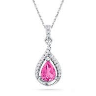 0.15CTW DIAMOND 1.50CTW LAB CREATED PINK SAPPHIRE PENDANT