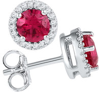 0.16CTW DIAMOND 1.20CTW LAB CREATED RUBY EARRING