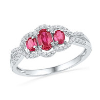 0.16CTW DIAMOND 0.77CTW LAB CREATED RUBY RING