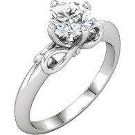 Infinity Style Solitaire Engagement Ring Mounting