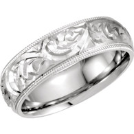 Platinum Hand Engraved Band