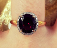 Rose Gold Oval Shaped Garnet Ring