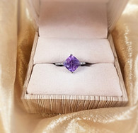 WHITE GOLD SQUARE AMETHYST RING