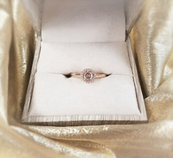ROSE GOLD MORGANITE RING W/ DIAMOND HALO