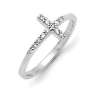 Sterling silver sideways cross ring set with beautiful cz stones, perfect for any finger.