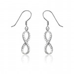 Silver Infinity Dangle Earrings- CZ