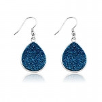 Blue Druzy Pear Earrings