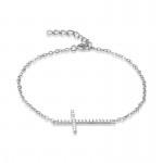 Silver Sideways Cross Bracelet- CZ