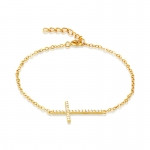 Gold Plated Sideways Cross Bracelet- CZ