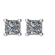 14k WG 1/3CTW Princess Diamond Studs