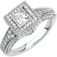 14KWG Bezel Set Princess Engagement- 1CTW